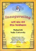 Inagurating Maharishi Vedic University