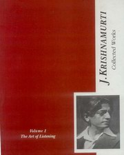 Collected Works  of J. Krishnamurti (Vol-1) - The Art of Listening, J. Krishnamurti, ARTS Books, Vedic Books