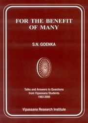 For the Benefit of the Many, S.N. Goenka, MEDITATION Books, Vedic Books