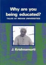 Why are you being educated?, J. Krishnamurti, MASTERS Books, Vedic Books